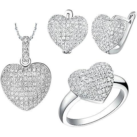 AieniD Conjunto de Collar Anillos y Aretes Corazón Chapado en Plata Joyas de Moda Con Circonita para Mujer