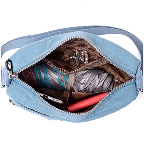 TianHengYi Small Water Resistant Women's Cross-body Shoulder Bag Lightweight Nylon Fabric Messenger Bag Blue