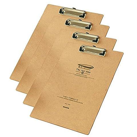 gossipboy Lot de 4/1Set Vintage la dernière fois papier A4fichier Presse-papiers Coins arrondis dessin Tableau Heavy Duty Clip Menu Board avec trou de suspension