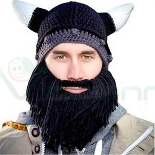 Hut Warm Erwachsene Strick Barbuto Wikinger mit Hörnern und Bart schwarz Maske
