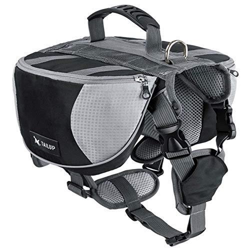 Hunderucksack Schultertasche Stil größenverstellbare Haustiertasche mit Reflektierender Streifen Hund Zubehör für Wandern große Dog Carrier Black M -