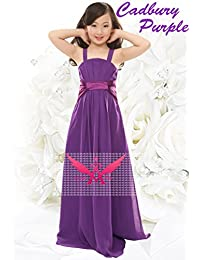 Nectarean A-line Spaghetti Straps Draping Long Chiffon Junior Bridesmaid Dress