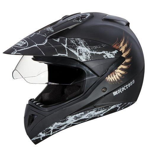 Studds Motocross D4 Helmet With Visor (Matt Black N12, L)