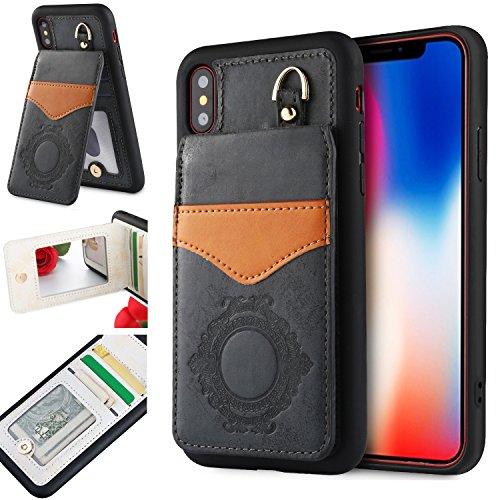 iPhone X Case mit Spiegel, iPhone X Wallet Case, orsent iPhone X Leder Fall mit Spiegel, Flip Schutzhülle mit Standfunktion & Kreditkarte Slots, unterstützt Wireless Charging, 01 Black for iPhone X -