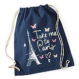 Turnbeutel Take me to Paris Eiffelturm Hipster Beutel Tasche Jutebeutel Gymsac Autiga® navy unisize