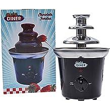 Dinky Diner B016ITBEFQ - Fondue de chocolate, 2 niveles, acero inoxidable, color negro y plateado