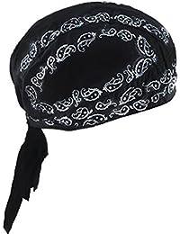 Bandana sportiva ad asciugatura rapida, protegge dai raggi UV, ideale per ciclismo, corsa, bicicletta, moto o per essere indossata sotto al casco, Cotton Bandana-Black