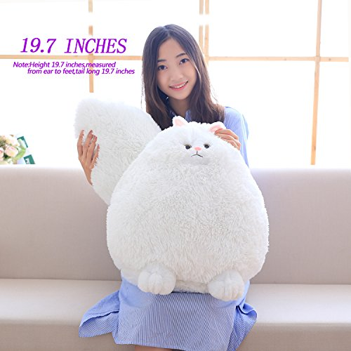 Winsterch-E Fluffy Giant Stuffed Cat Toy Soft Plush White Persain Cat Toy Large Stuffed Animal Toy Baby Toys Baby Doll Kids Gift Birthday Gifts Großer Plüschtier (White, 19.7 - Plüschtiere Soft-plüsch
