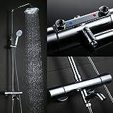 Kinse® Elegant Chrom Überkopf-Brauseset Duschsystem mit Brausethermostat inkl. Wandhalterung Handbrause