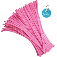 Carykon 100 PCS Fuzzy Chenille Stems Pipe Cleaners for Arts and Crafts (Pink)