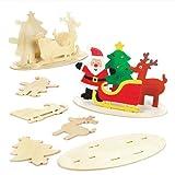Holzbilder Weihnachten für Kinder als Weihnachtliche Bastel- und Deko-Idee für Jungen und Mädchen (3 Stück)
