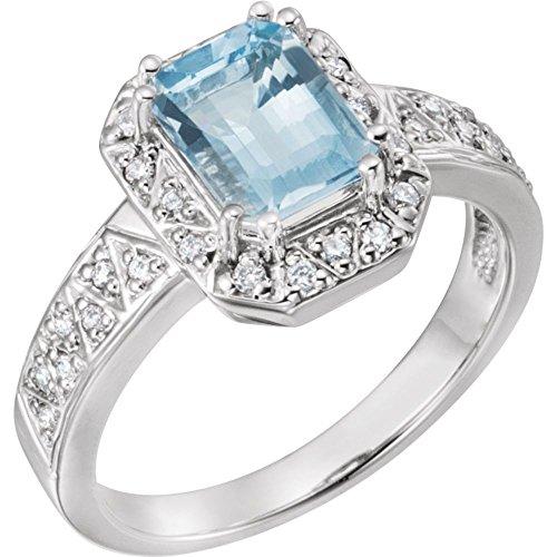 Ring Weißgold 14 Karat Aquamarin Diamant Halo-Style - Und Diamant Aquamarin Ring Halo
