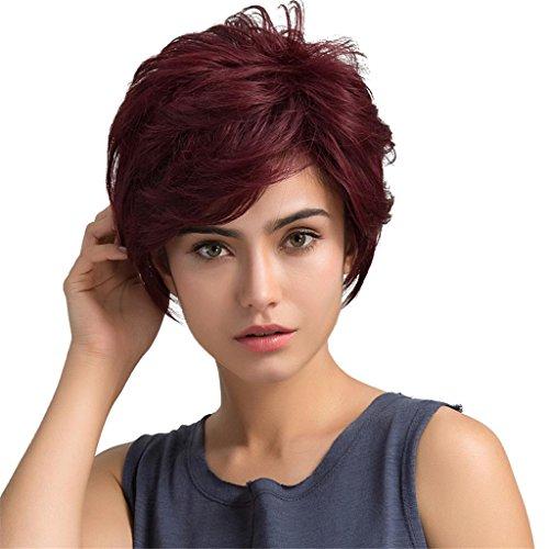 Sharplace Damen kurze Perücke Wig aus menschliches Haar hitzebeständig Weinrot Cosplay Wig (Menschliche Haare Perücken)
