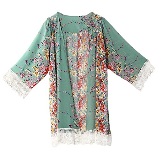Damen Spitzen Bluse Tops Strand Badeanzug Bedecken Pareos Kimono Cardigan Strandkleid Grün