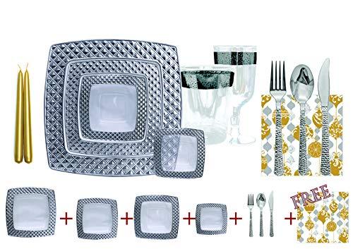Set Vaisselle JETABLE DE Luxe carrée à Usage Unique pour 10 Personnes - Transparent avec Bord en Argent -Diamond Collection + Set Decorative Gratuit !