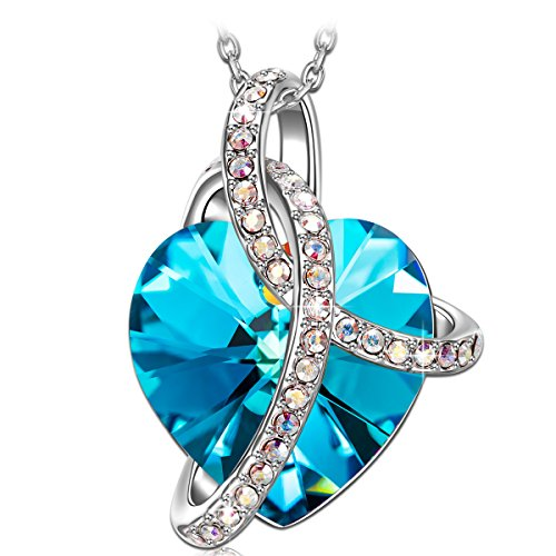 "SIVERY ""Love Heart"" Blue Necklace Heart Pendant with Crystal from Swarovski, Jewellery for Women"