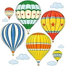DECOWALL Globo de Aire Caliente Vendimia Globo Aerostático Vinilo Pegatinas Decorativas Adhesiva Pared Dormitorio Salón Guardería