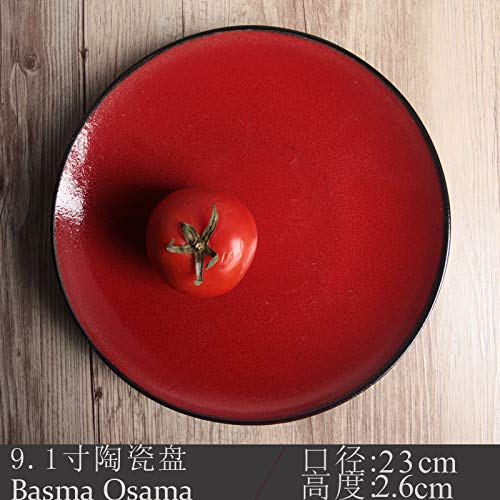 YUWANW Ceramics 7-8 Inch Round Dish Home Plate Creative Personality Western Dish Plate Flat Plate Cutlery Japanese-Style Fruit, Light Burgundy 9.1
