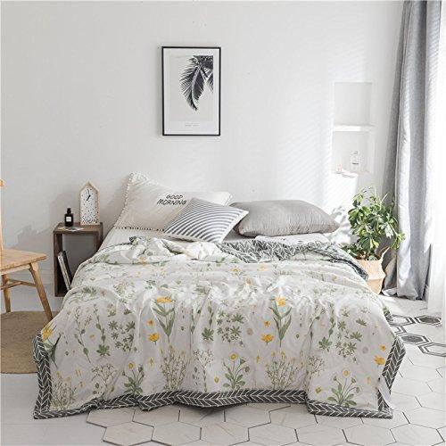 Zarter Duft (YT Sommer kühl durch skandinavische kleine frische Baumwolle Klimaanlage war Baumwolle gedruckt Sommerdecke,zarter Duft,200 * 230)