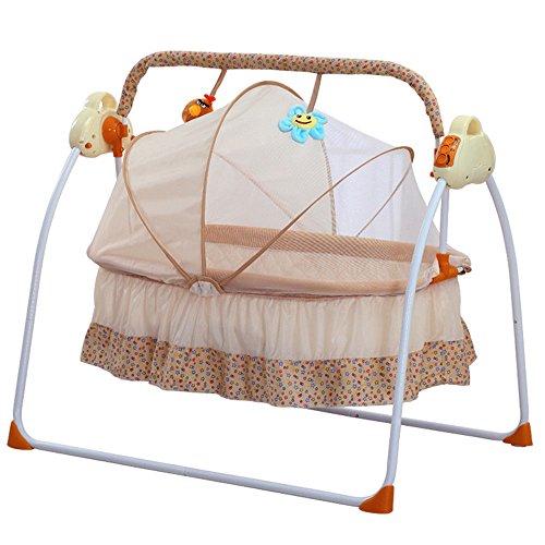 OBLLER Automatik Babyschaukel Automatische Safe Elektrische Baby-Wiege Wippe mit Matte(Khaki)