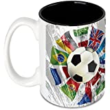 Hot Muggs® The World Unites At Soccer Large Ceramic Mug With Free Badge 450 Ml, Ideal For FIFA World Cup