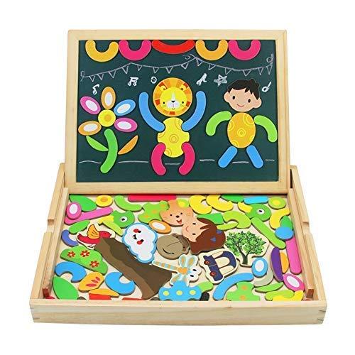 Puzzle magnetico legno lavagna magnetica per bambini giocattolo di legno magnetico lavagna double face giochi educativi giochi creativi costruzioni per bambini 3 anni 4 anni 5 anni, quasi 85 pezzi
