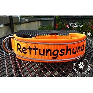Hund&Hals – Hundehalsband 1.0 – Halsband RETTUNGSHUND mit Name und oder Telefonnummer, handmade