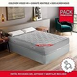 PIKOLIN Pack Colchón viscoelástico Espuma HR 150x190+ canapé con Base...