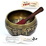 #3: Dungricraft Tibetan Meditation Om Mani Padme Hum Peace Singing Bowl Buddhist Art Décor 3.5 inche With Mallet and Cushion