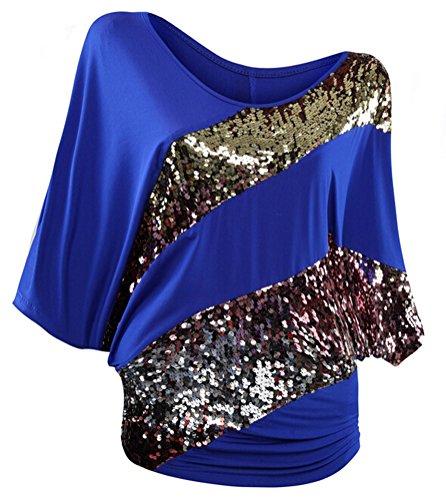 SMITHROAD Damen T-Shirt mit Pailletten Applikationen Fledermaus Shrit Top Kurzarm Dehnbar Rundhalsausschnitt Loose Fit 03 Blau