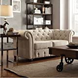 TRIBECCA HOME Knightsbridge Beige Linen Tufted Scroll Arm Chesterfield Settee Loveseat Small Sofa by Tribecca Home