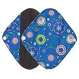Ularma Reusable Charcoal Bamboo Mama Pads/ Menstrual Pads Cloth/ Sanitary Napkins Pad -Night time protection (S, Light Blue)