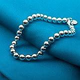 Aoligei Weibliche Silberarmband Glatte Runde Perle Perlen Armband Männer und Frauen Mode