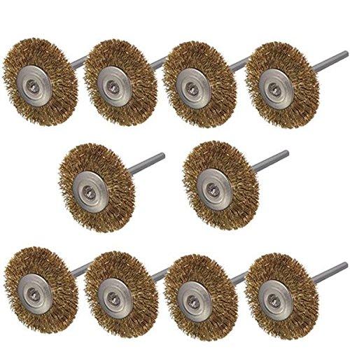 Preisvergleich Produktbild 3 mm Schaft Messing Draht Rad Pinsel für Dremel Rotary Werkzeug 10 Stk.