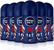 NIVEA MEN Dry Impact Roll-on en pack de 6 (6 x 50 ml), desodorante antitranspirante con protección 48 h, desod