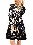 Ruiyige Vestito da donna a maniche lunghe da donna Stampa di renna a maniche lunghe Stampa Sleeveless Midi Dress S nero