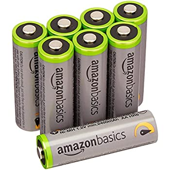 AmazonBasics High Capacity AA Pre-Charged Rechargeable Batteries 2500 mAh/minimum: 2400 mAh [Pack of 8] - Outer Jacket May Vary