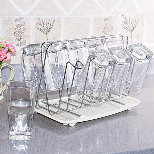 ZJHYSDQ Edelstahl Teetasse Ständer Halter Wasser Glas Becher Abtropffläche Mit Tablett Flasche Wäscheständer Lagerregal Küche Zubehör