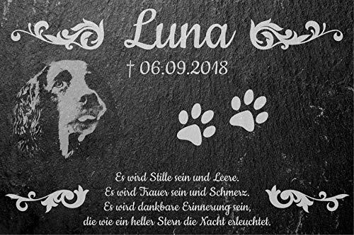 Geschenkfreude Grabstein Hund/Gedenkstein mit Gravur fürs Grab - Grabplatte mit Foto Gravur auf Schiefertafel als Erinnerung an den verstorbenen Hund