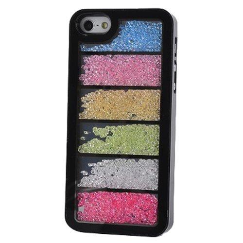 yaobaistore superbe Étui à rabat style Swarovski Pierres Strass Diamant Bling main cristal Luxe Bumper Coque arrière rigide pour Apple iPhone 5iPhone 5S (Noir) Parallel Rainbow