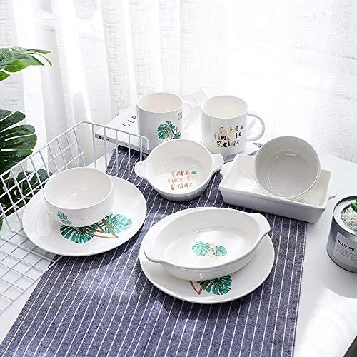 hangxuanzhuanmai Le stoviglie Pezzi di Ceramica con la Ciotola di Riso Giapponese Lunghe Orecchie Bistecca PERSONALITA \'la Colazione Occidentale per la Coppa, Bianco, 9