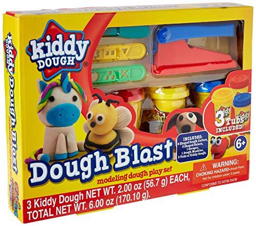 KIDDY DOUGH Modellierung Von Teig Spielset-Teig-Blast Starter-Set Mit Werkzeugen - Umfasst 3 Dosen Des Teiges W / Integrierte Briefmarken, Cutter Schablonen (Kids Dough Cutter)