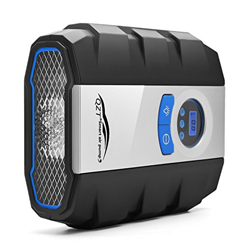 Compresseur d'air Portable, QZT Compresseur Pneu DC 12V Digital Compresseur a'air avec Lampe LED