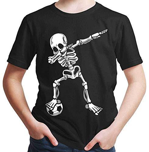 HARIZ  Jungen T-Shirt Dab Skelett mit Fussball Dab Dabbing Dance Halloween Plus Geschenkkarten Schwarz 128/7-8 Jahre