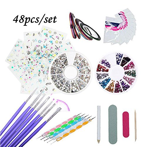 PAWACA Kit de herramientas para manicura de uñas, pinceles para pintar uñas, pinceles de punto, uñas...