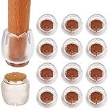 Tappi per gambe in silicone per sedie, piedini per sedie Piedini per piedi per tavoli in 12 confezioni per protezioni per pavimenti in legno (rotondi), cuscinetti in feltro antiscivolo size adatto per 21-25mm