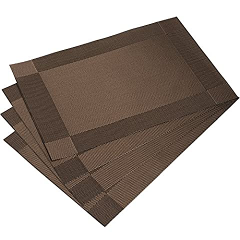 DinaChef Place Mats for Dining Table or Kitchen, Quality Thermal Bonded Edges, Reversible and Waterproof, Vinyl Placemats Set of 4, Rectangle Square Corner Design Mats in Brown