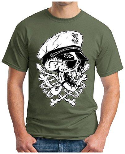 OM3 - CAPTAIN-SKULL - T-Shirt HIPSTER DOPE ANCHOR ANKER SHIP OLDSCHOOL GEEK EMO, S - 5XL Oliv