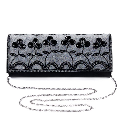 Damara Ladies Motivo Floreale Ornamento Colorato Robusta Borsa, Oro Nero