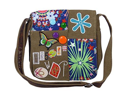 Umhängetasche Canvas Style mit aufgenähten Patches, Buttons und floralem Muster - Maße 25 x 25 cm - Damen Mädchen Teenager Tasche Braun